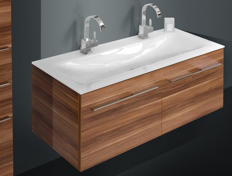 Badmöbel Set mit GLAS- 120 cm Doppelwaschtisch: Amazon.de: Küche ...   {Doppelwaschbecken glas 11}