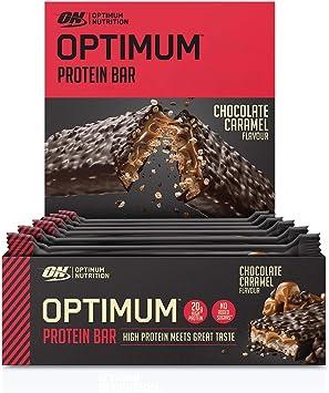 Optimum Nutrition Protein Bar Barritas Proteínas con Whey Protein Isolate, Dulces Altas en Proteína y Low Carb, Chocolate y Caramelo, 10 Barras (10 x ...