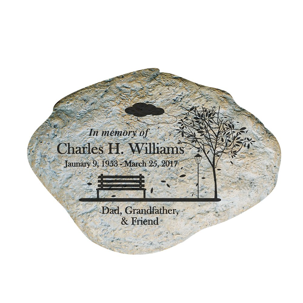 GiftsForYouNow Empty Bench Personalized Memorial Garden Stone