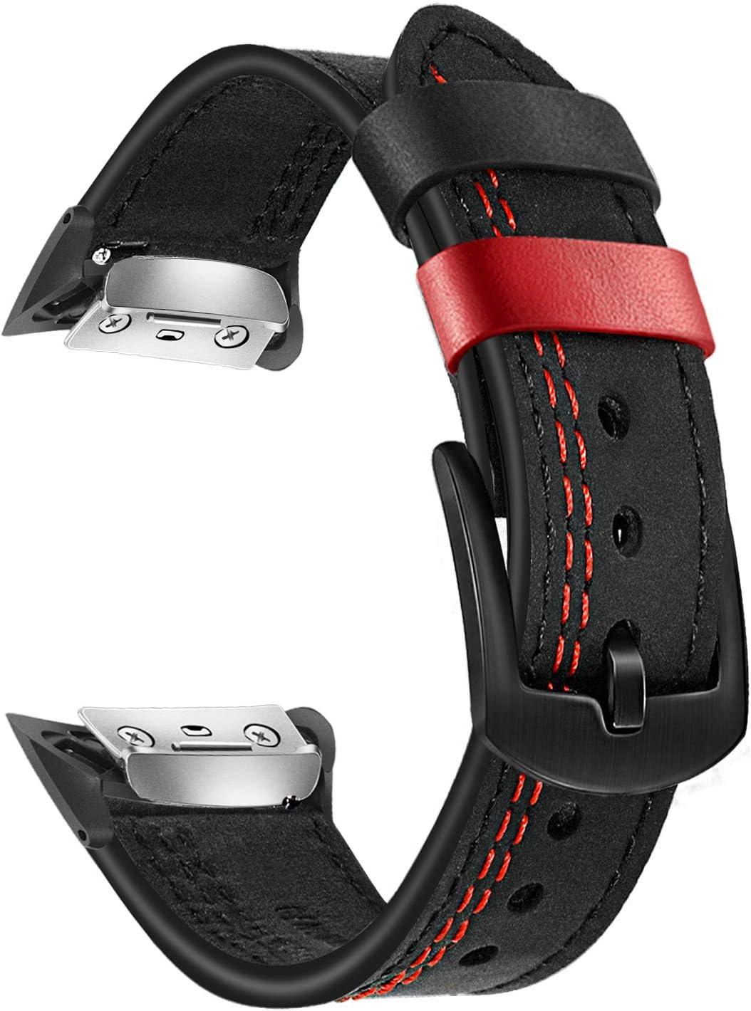 TRUMiRR Reemplazo para Gear Fit 2 Correa de Reloj, Banda de Reloj de Cuero Genuino de Doble Color Cierre de Acero Inoxidable Brazalete Deportivo para Samsung Gear Fit 2 SM-R360 / Fit2 Pro SM-R365
