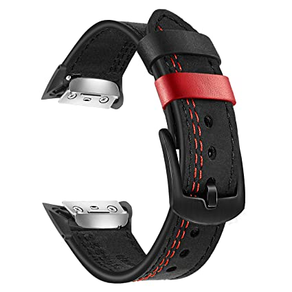 Gear Fit 2 Watchband, TRUMiRR Double Color Genuine Leather Watchband Stainless Steel Clasp Strap Sports Wristband Wrist Bracelet for Samsung Gear Fit ...