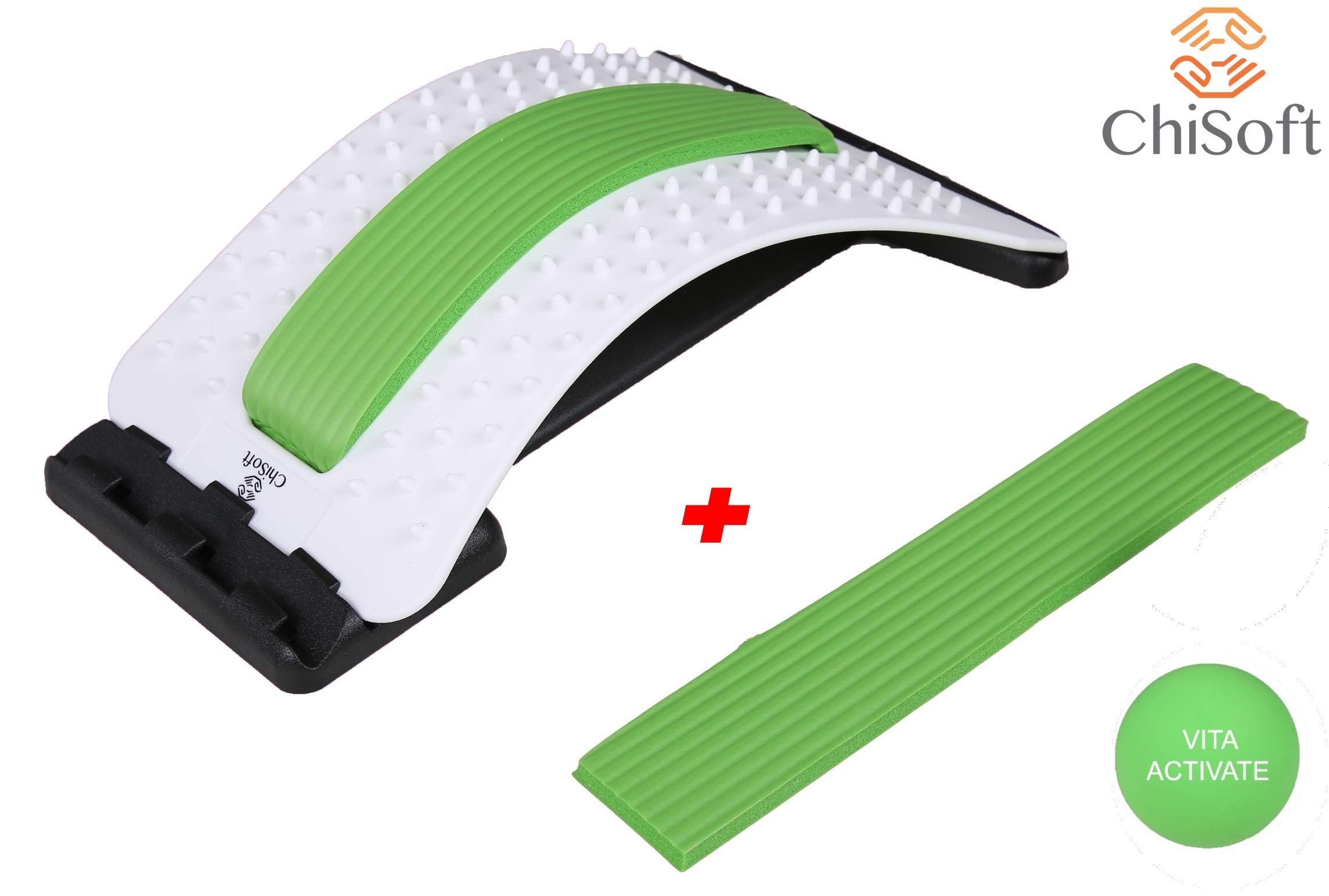 Best Arched Back Stretcher As Seen Doctors TV - CHISOFT (2nd Edition) Lumbar Stretching Device + Extra Cushion Foam + Trigger Point Massage Ball, Improve Posture, Sciatica Back Pain Relief