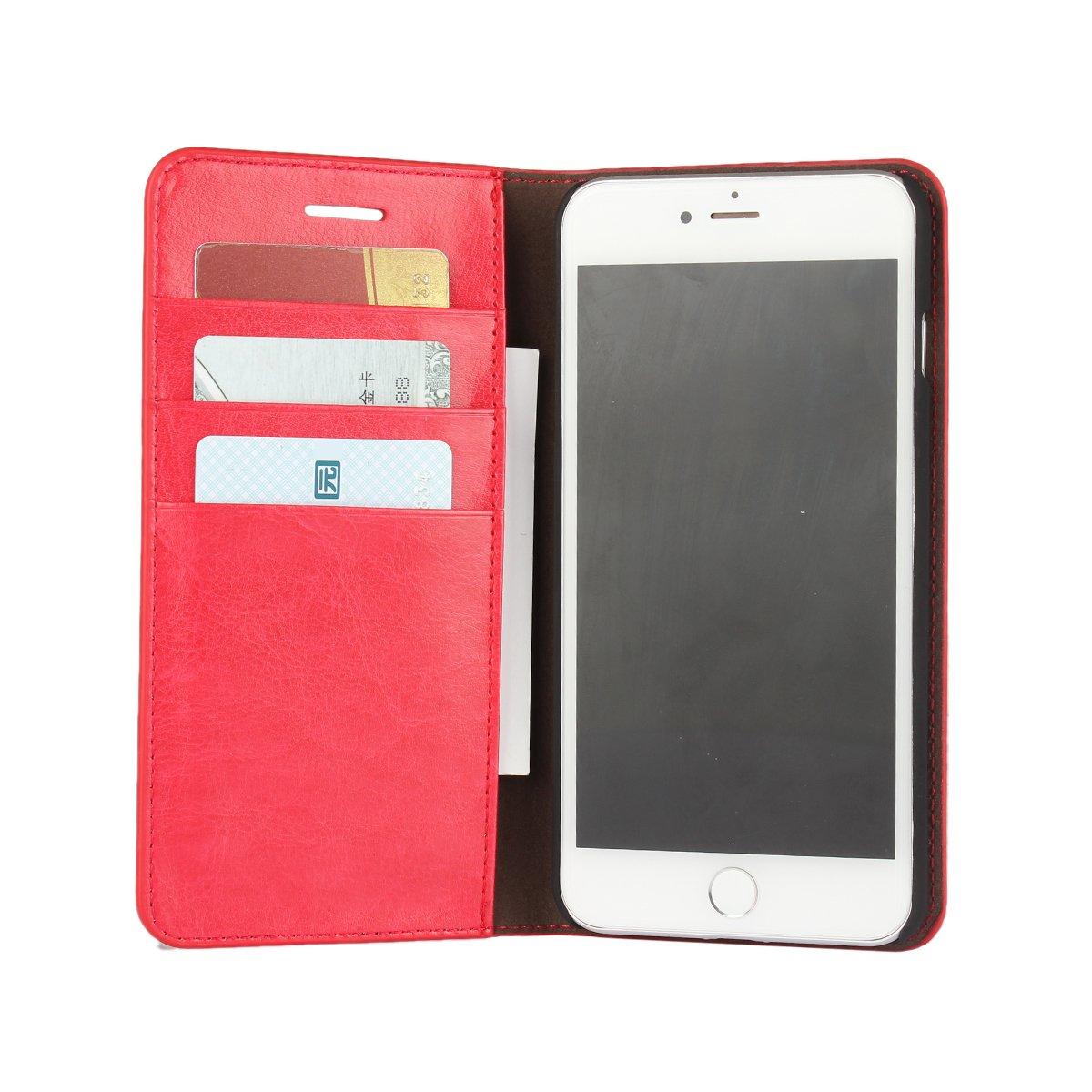 iPhone 7 Plus 5.5インチ用本革ケース - [ウォレットケース] [カードスロット3枚] [マグネットクロージャー]フォリオフリップ牛革レザースタンドケースカバー   B01LYO3CAR