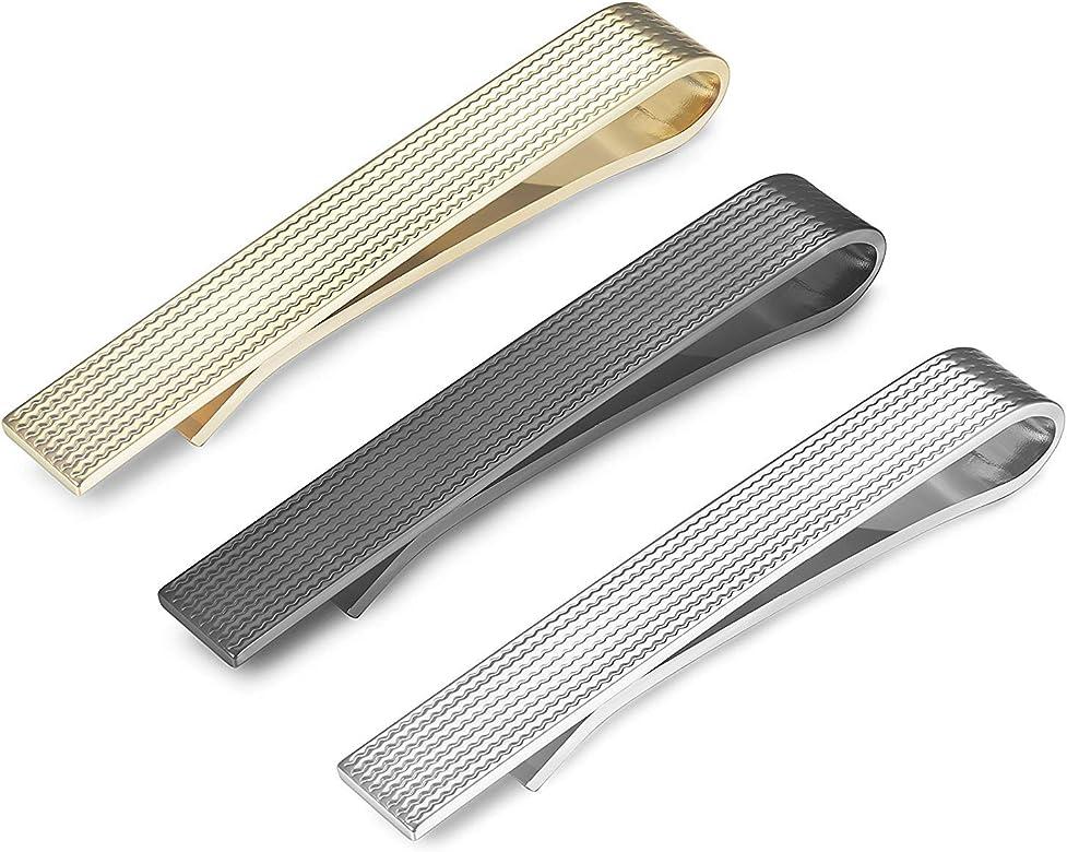 Finrezio Tie Clip Set para Hombres Tie Bar Clip para Corbatas ...
