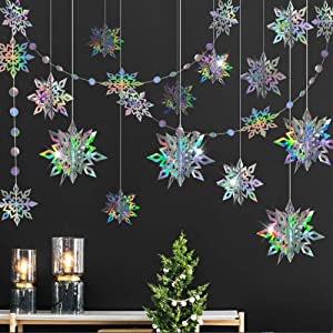 3D Iridescent Snowflake Decorations Snowflake Garland Hanging Ornaments for Winter Wonderland Christmas New Year Birthday Wedding Baby Shower Anniversary Party Decor for Home Showcase School Classroom
