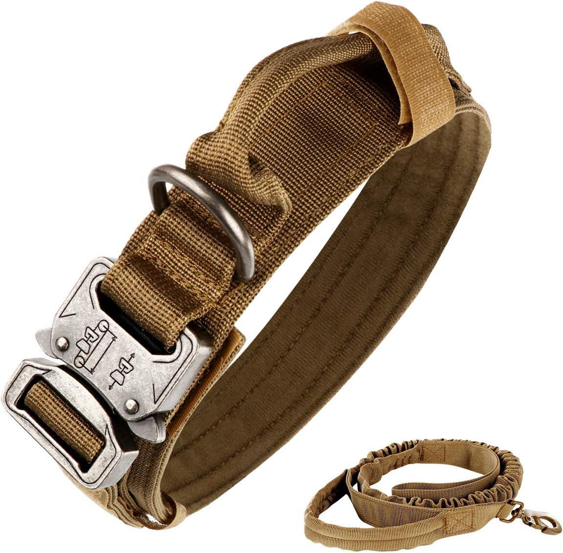 nobrand Collar táctico para perro de nailon ajustable K9 collar militar de perro con hebilla de metal resistente con asa y correa elástica táctica de nailon ajustable para perro (M, caqui)