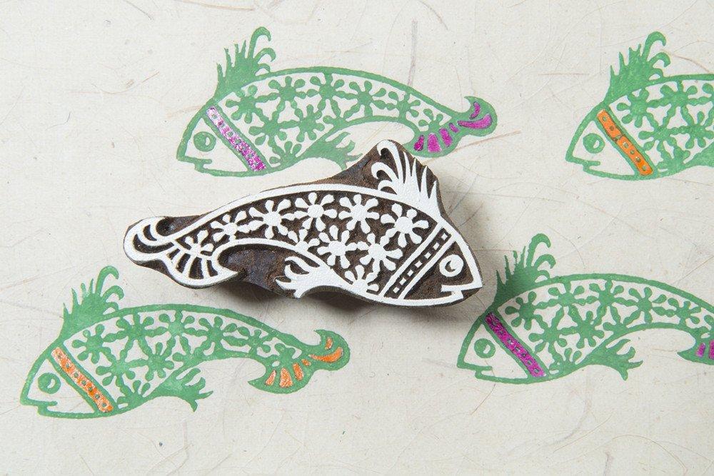 Blockwallah Retro Fish Wooden Block Stamp