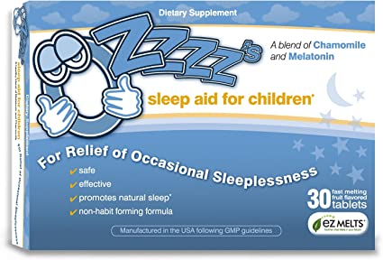 Ozzzz S Sleep Aid For Children With Melatonin And Chamomile Pediatrician Formulated Zero Sugar Vegan Orange Dream Flavor 30 Ez Melt Tablets Health Personal Care