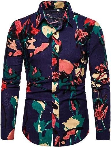 MEIbax Camisa Manga Larga Hombre Camisa Casual de Hombre de Negocios Camisa de Hombre Estampada Moda: Amazon.es: Ropa y accesorios