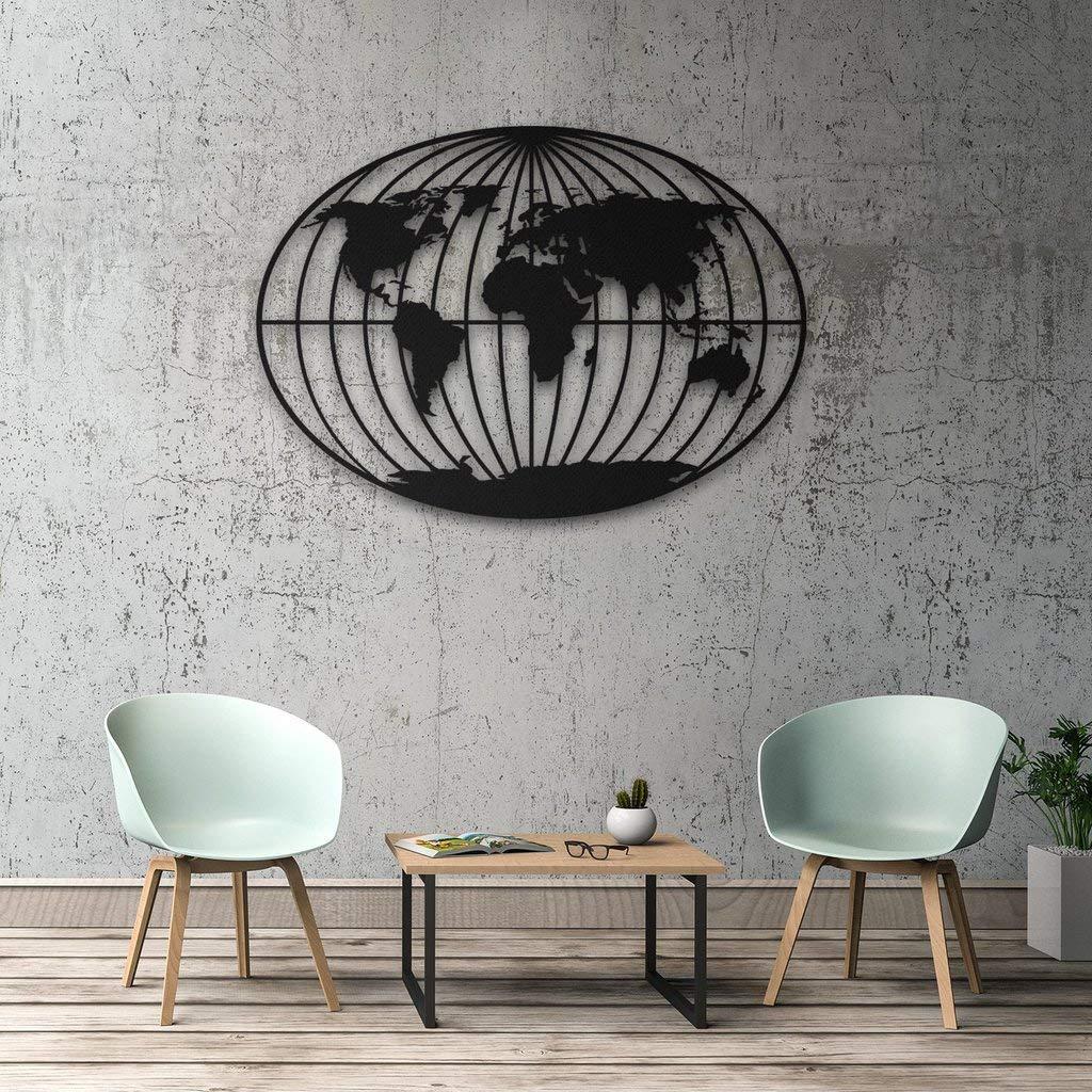 DecoMood Orbis Wanddekoration, Metall, Weltkarte, 3D-Wandsilhouette, Wanddekoration, für Zuhause, Büro, Schlafzimmer, Wohnzimmer, Dekoration, Skulptur, 98 x 70 cm