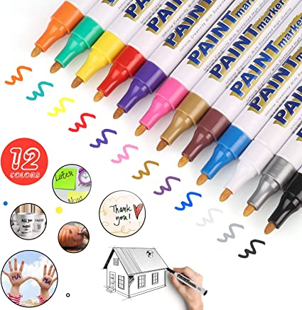 Acrylic Paint Pens for Rock Painting Metal Write On Anything Paint pens for Rock Ceramic and More! Wood Plastic 24 Pack Glass Canvas