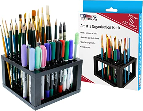 Markers U.S Art Supply 96 Hole Plastic Pencil /& Brush Holder Paint Brushes Desk Stand Organizer Holder for Pens Colored Pencils