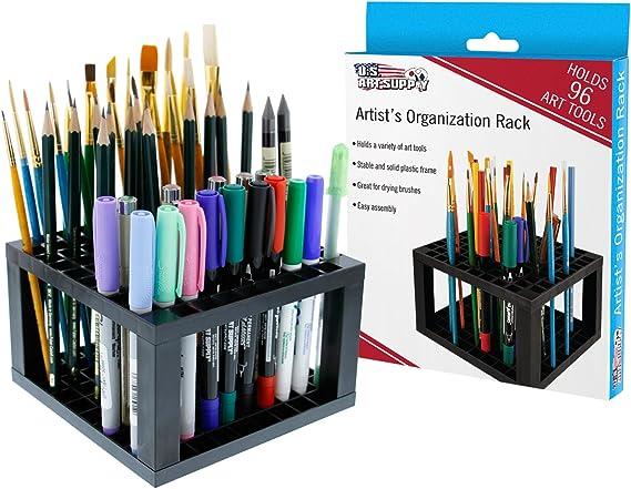 LJSLYJ Paint Brush Holder Plastic Pen Brush Holder Pencil Shelves Pen Rack Art Brush Organizer Marker Holder,Black
