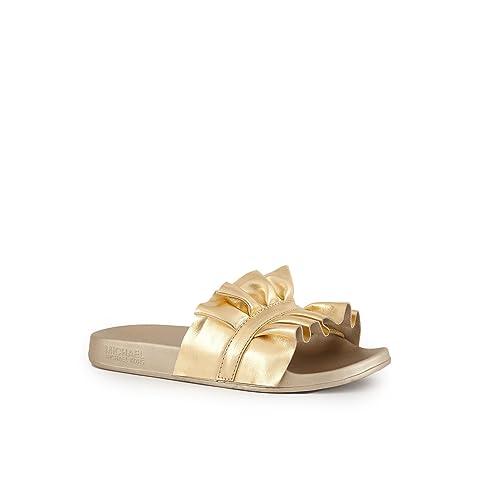 7fbf1a2e7b36 Michael Kors Michael by Bella Metallic Pale Gold Ruffle Slide   Amazon.co.uk  Shoes   Bags