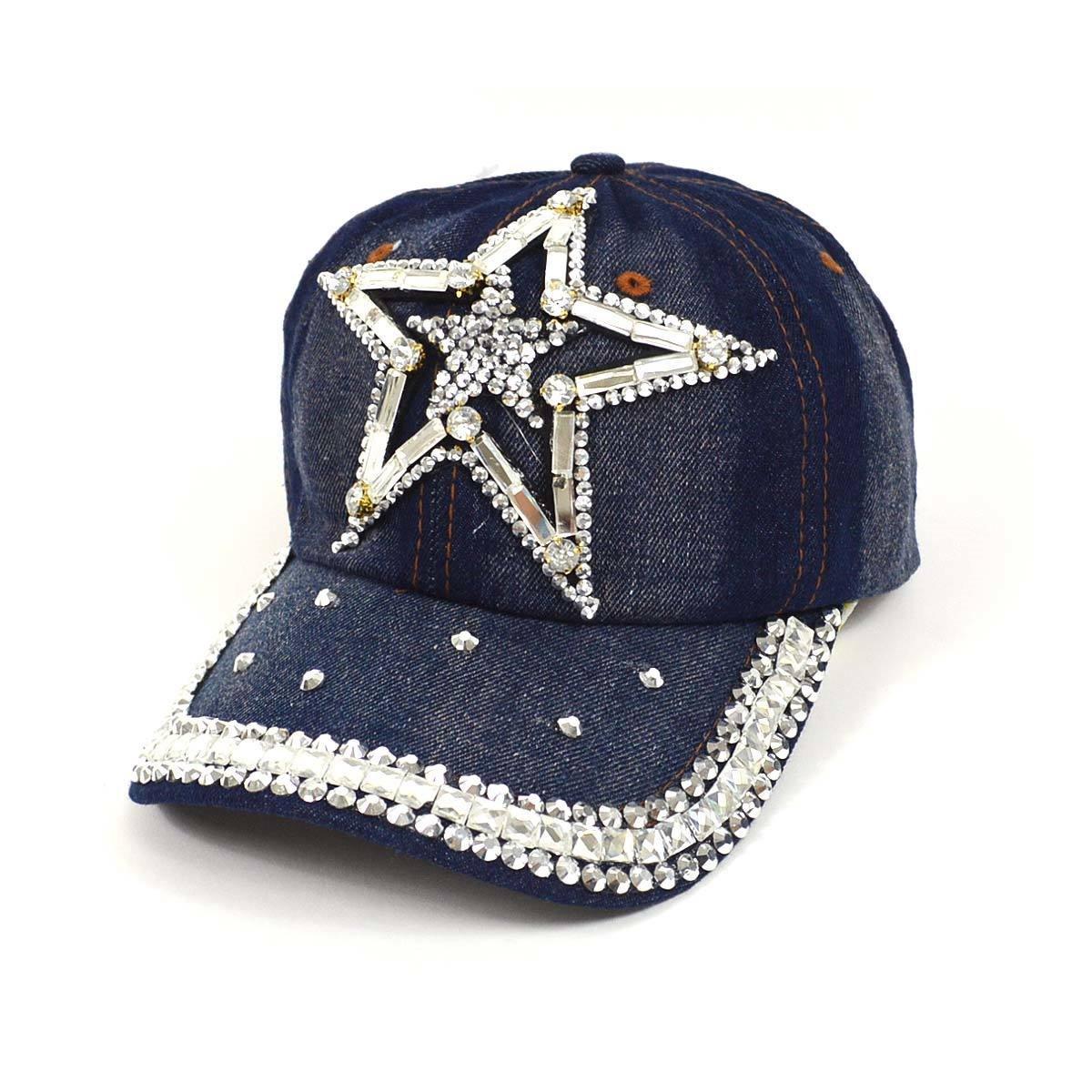 2366d3888a8e69 Nollia Bling Star Embellished Adjustable Baseball Cap Hat~Dark Denim at  Amazon Women's Clothing store: