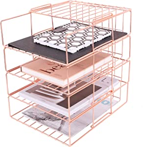 Hosaken Paper Tray, 4 Tier Stackable File Tray, Decorative Desk File Organizer Rack for Office Supplies and Accessories, Rose Gold