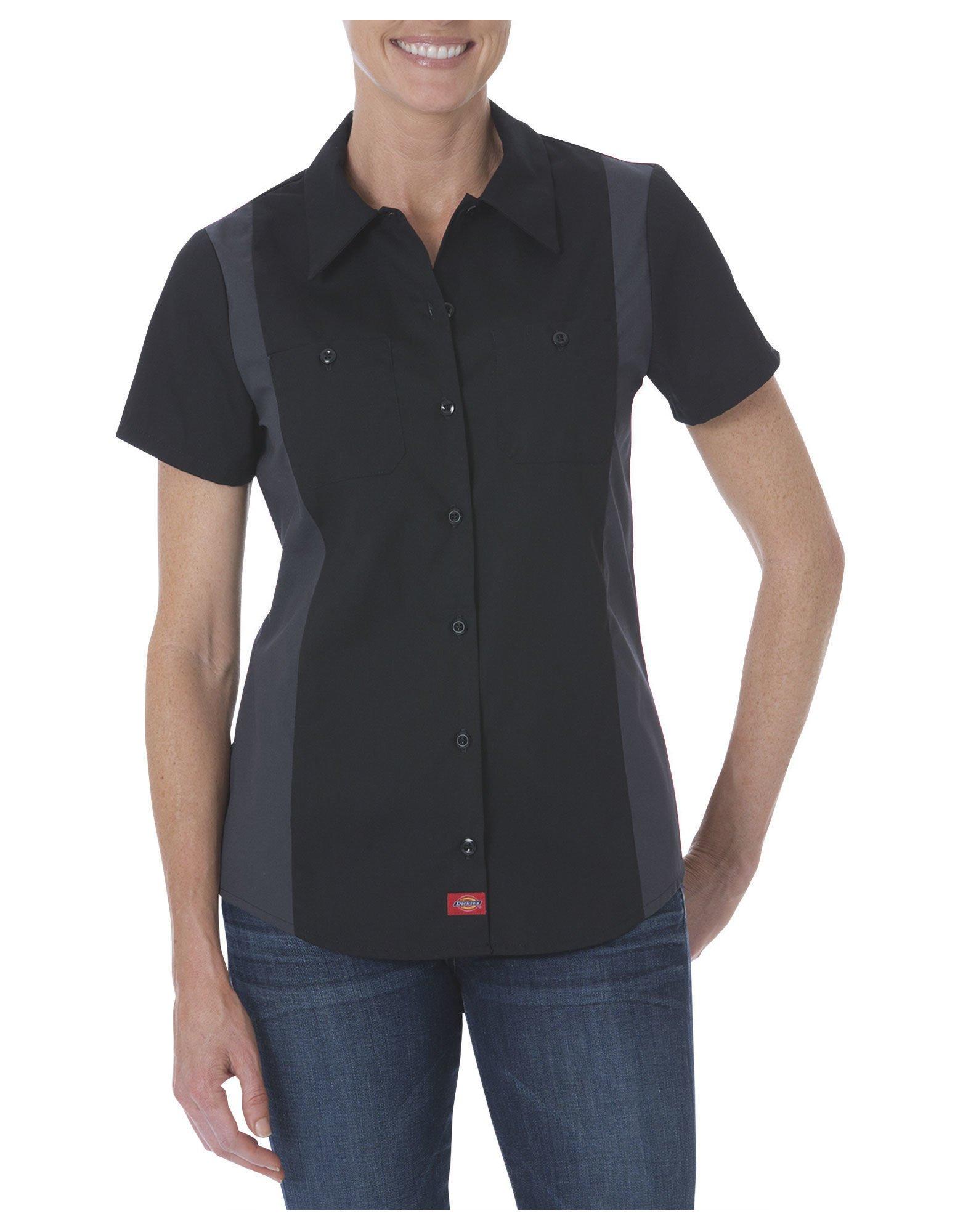 Dickies Occupational Workwear FS524BKCHS FS524 Women's Short Sleeve Color Block Shirt Fabric Small Black/Charcoal