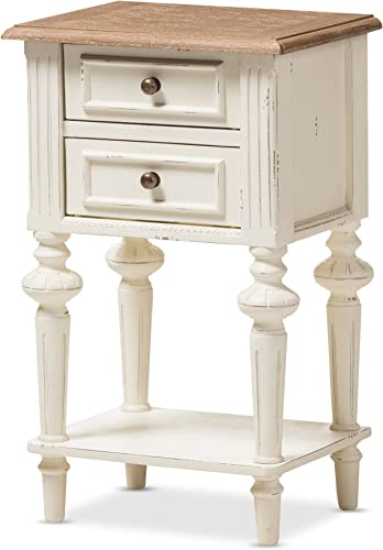 Baxton Studio Colette Weathered Oak White Wash Distressed Two-Tone 2-Drawer 1-Shelf Nightstand