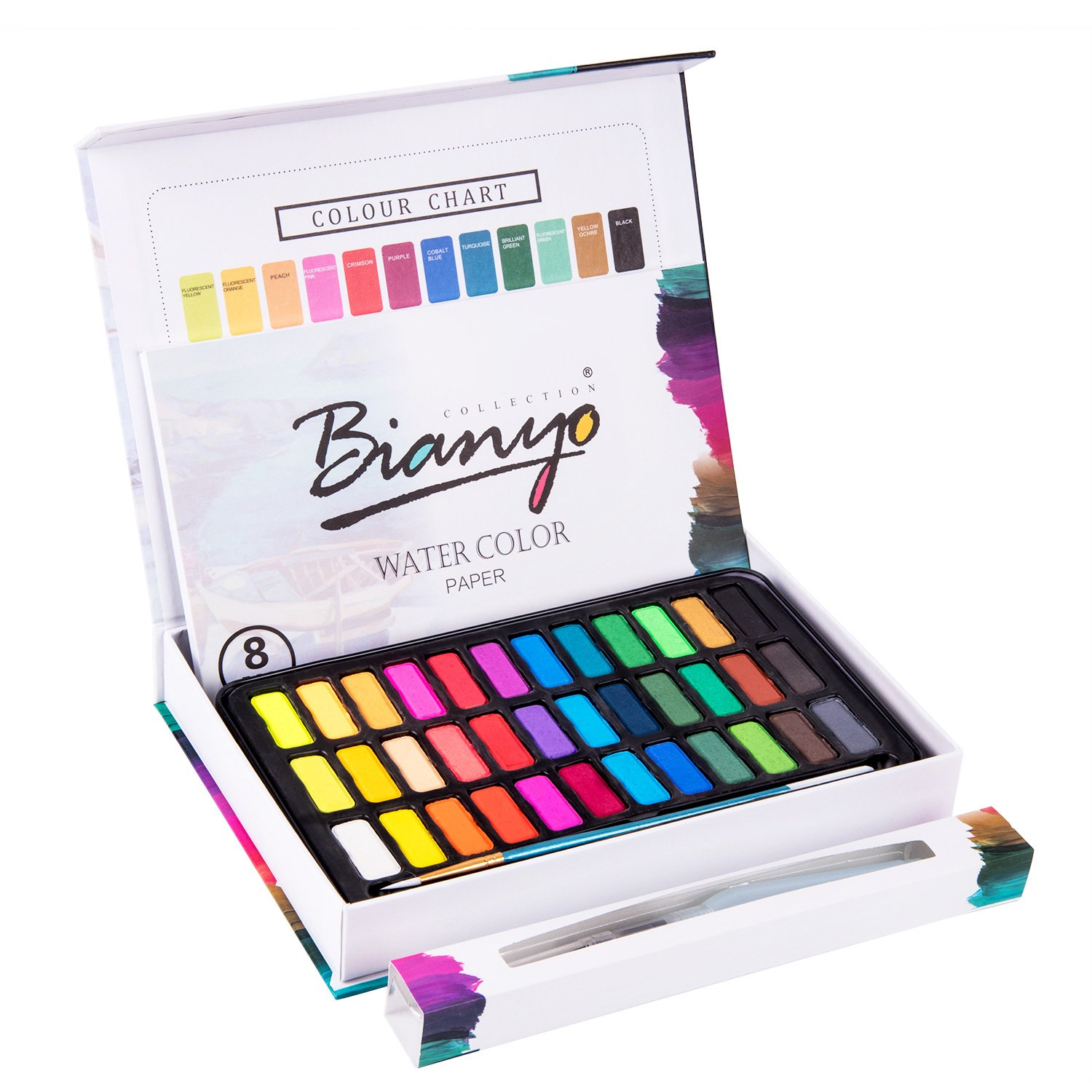 Bianyo Watercolor Paint- Professional Art Water Colors Set with Paper Brush Palette for Kids Adults Painting, Coloring, Gift Travel Case