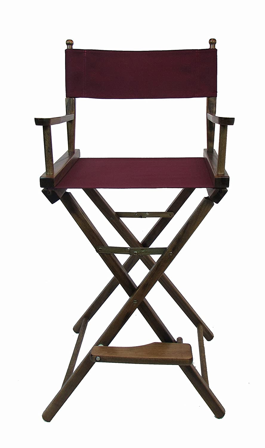 Personalized Imprinted Gold Medal Contemporary 30 Bar Height Walnut Frame Directors Chair – Black