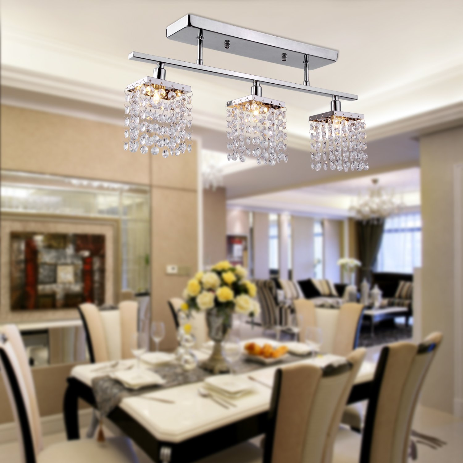 LightInTheBox Chandelier With 3 Lights In Crystal Flush Mount Modern Ceiling Light Fixture For Entry Dining Room Bedroom