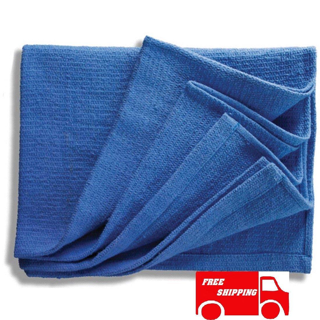 GHP 75Pcs Lint Free Heavy Weight Fabric Blue Huck Towel/Rags Towel