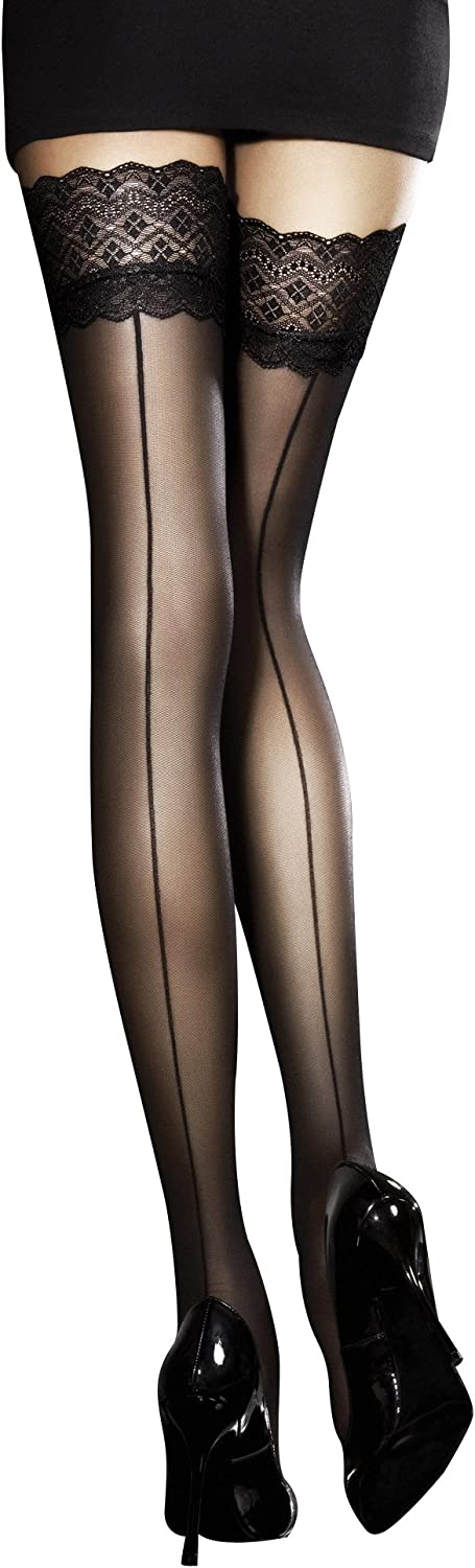 Available in Black or White Fiore 30 Denier Sheer Hold Ups Medium, White
