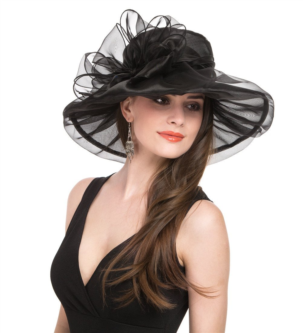 SAFERIN Women's Organza Church Kentucky Derby Fascinator Bridal Tea Party Wedding Hat (1-Black with Bowknot) by SAFERIN (Image #4)