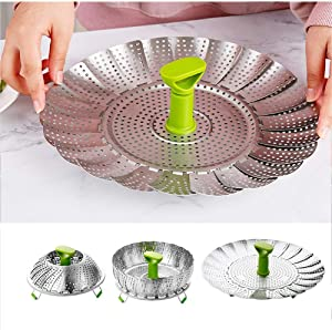 """EEDAN-Stainless Steel Vegetable/Veggie Steamer Basket For Instant Cooking Pot With Handle And Legs, Foldable Food Container For Fish, Oyster, Crab, Seafood, Dumpling ((5.1"""" to 9"""")"""