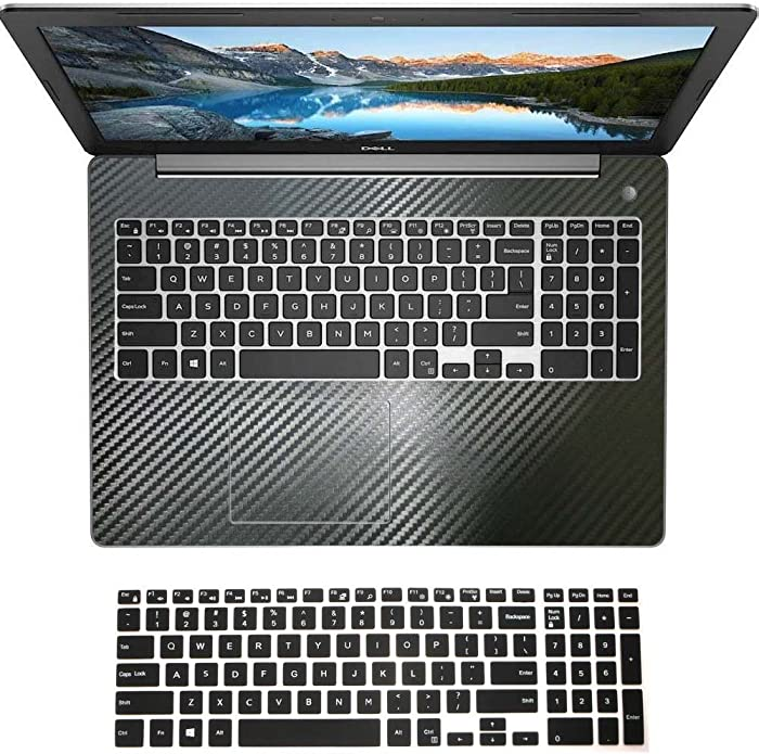 Black Carbon Fiber Wrist Palmrest Skin with Trackpad Cover+ US Layout Black Keyboard Protector for Dell Inspiron 15-5000 Series (Model 15-5570)