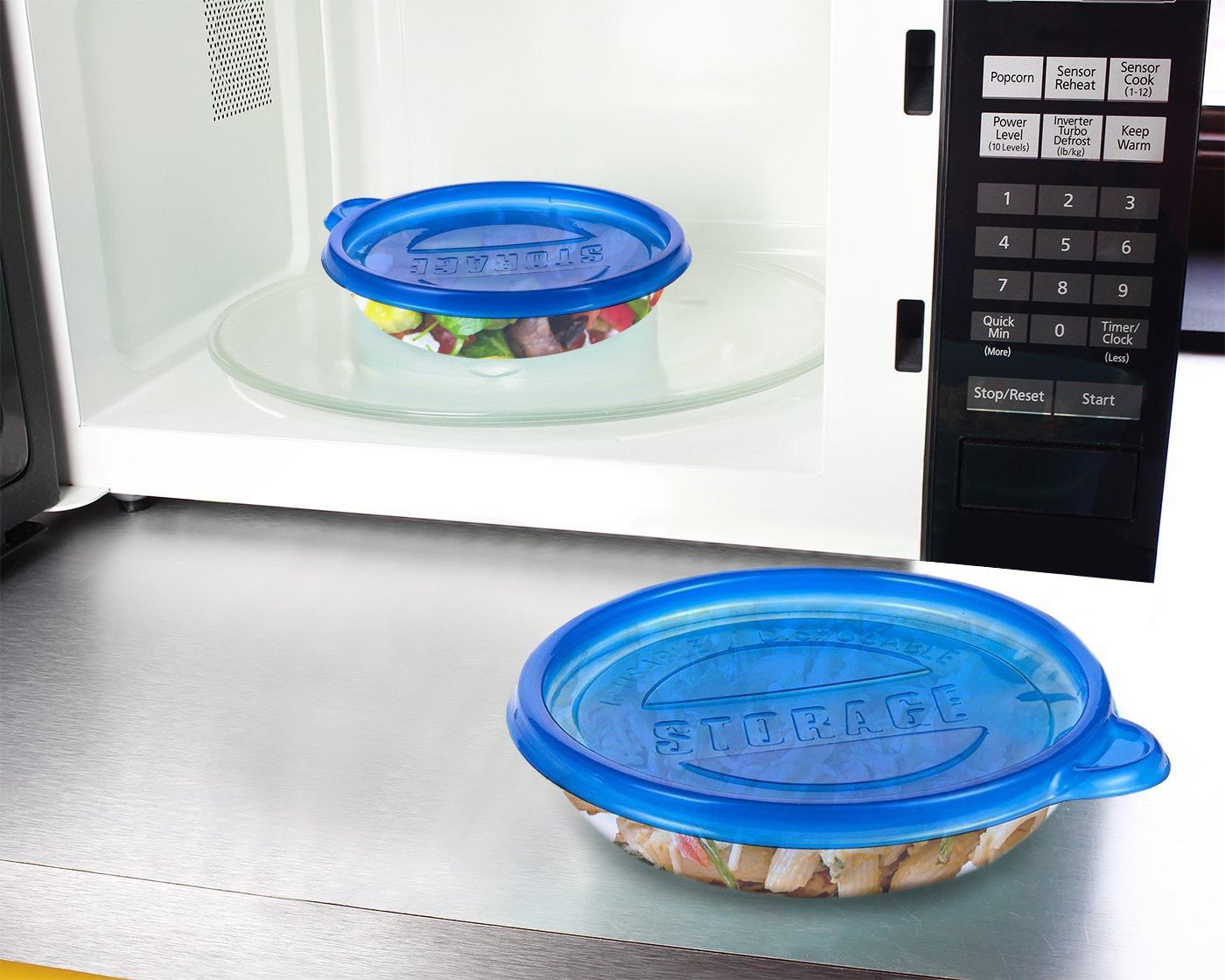 40-Pack Plastic Food Containers with Lids - Small Round Food Storage Containers, Deli Take Out Restaurant Containers, Microwave, Freezer, Dishwasher Safe, Fits 9.5 Fluid Ounces, 9.5 fl oz by Juvale (Image #2)