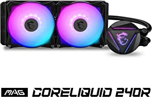 MSI MAG CORELIQUID 240R CPU AIO Cooler '240mm Radiator, 2X 120mm ARGB PWM Fan, Adjustable ARGB MSI Dragon CPU Mount, Compatible with Intel and AMD Platforms'