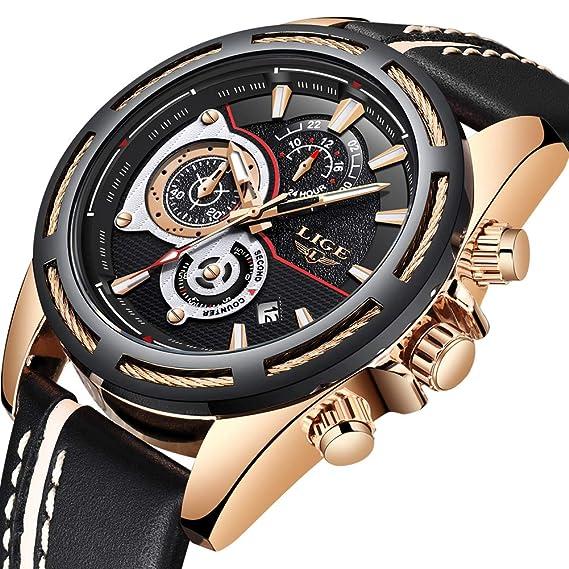 Relojes Hombres Marca de lujo LIGE Reloj analógico de cuarzo Hombre impermeable Cronógrafo Deporte militar Reloj Gents Cuero negro Dial grande Reloj de oro: ...