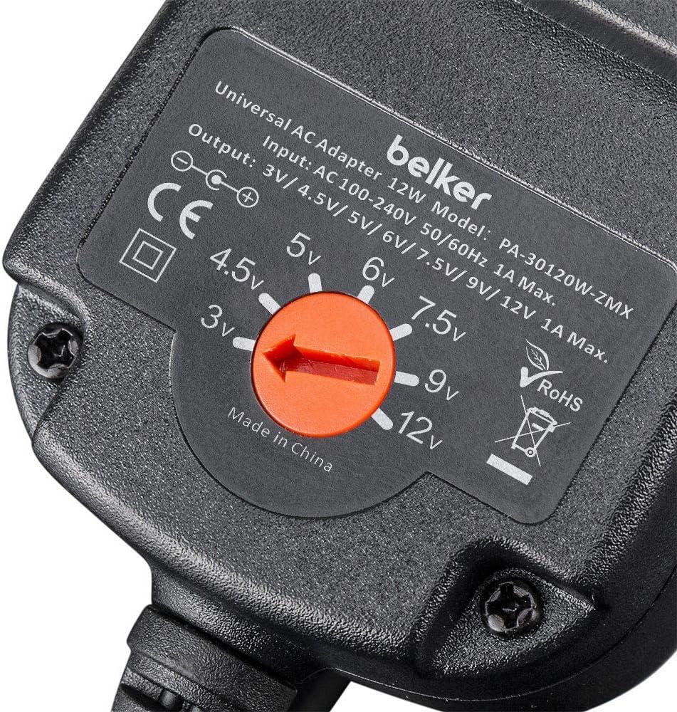 BN Belker 12W 3V 4.5V 5V 6V 7.5V 9V 12V Adjustable Voltage Universal AC//DC Adapter Power Supply for Household Electronics 1A Max.