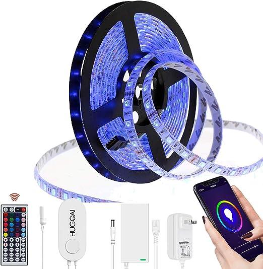 Hugoai Smart Wifi Led Strip Lights Led Lights For Room Compatible With Alexa Google Home 5050 Smd 300 Led Light Strip For Home Kitchen Ip65