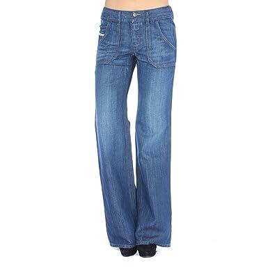 Amazon.com: Women's Diesel WIRKY 63H Wide Leg Regular Waist Jean ...