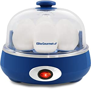 Elite Gourmet EGC-007CBL Easy Electric 7 Egg Capacity Cooker, Poacher, Omelet Maker, Scrambled, Soft, Medium, Hard Boiled with Auto Shut-Off and Buzzer, BPA Free, Blue