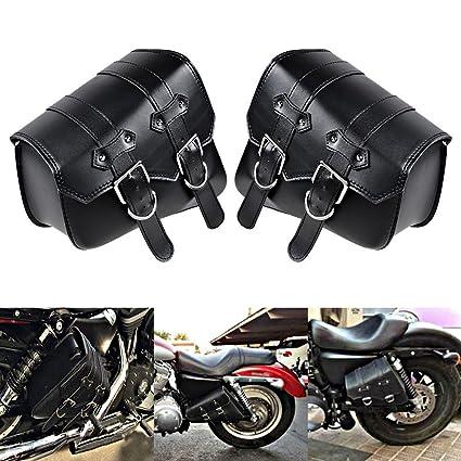 ef6e950b8a5b Amazon.com  DLLL 1 Pair (Left   Right) Black PU Leather Right Solo Side  Swing Arm Saddle Bag for Harley Davidson Dyna Sportster Cruiser Fat Bob  XL883 ...