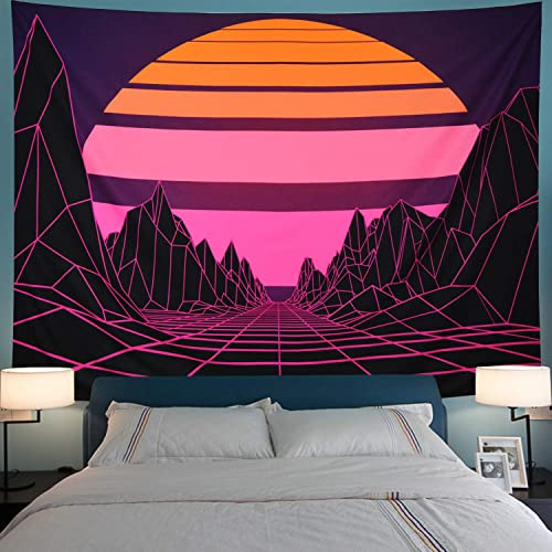 Sun Tapestry Mountain Tapestry Abstract Purple Mountains Tapestry Retro Geometric Wave Tapestry Wall Hanging for Living Room Dorm XL-70.8 94.5 , Purple Mountain
