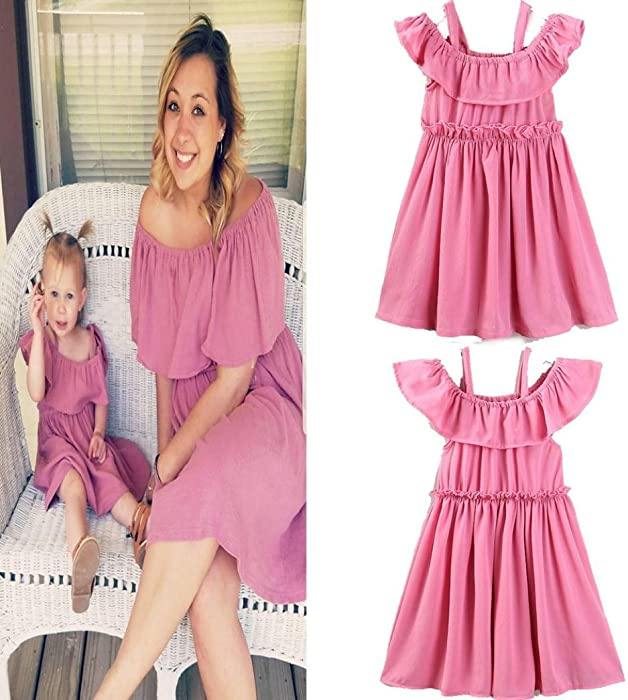 fc84da27c9efa Mommy & Me Clothes, Tenworld Off Shoulder Mother Daughter Matching Dresses