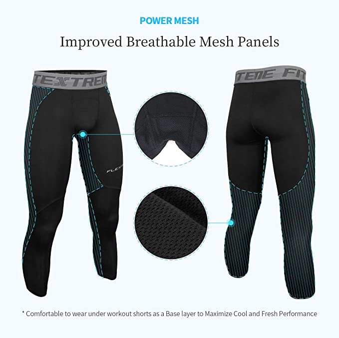 FITEXTREME Mens Compression Shorts Cool Dry Mesh Panel Baselayer Leggings Tights