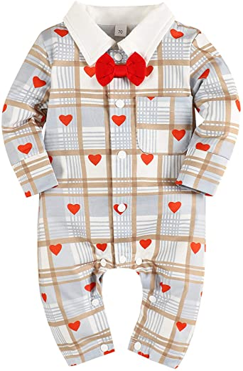 Newborn Baby Boys Cotton Romper One Piece Gentleman Outfits Jumpsuit Clothes