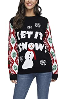 Viottiset Womens Xmax Ugly Christmas Funny Pullover Sweater Jumper