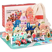 Umbresen 115 Pcs Wooden City Building Blocks Set, Colorful Stacking Preschool Educational Toys for Toddlers Boys Girls…