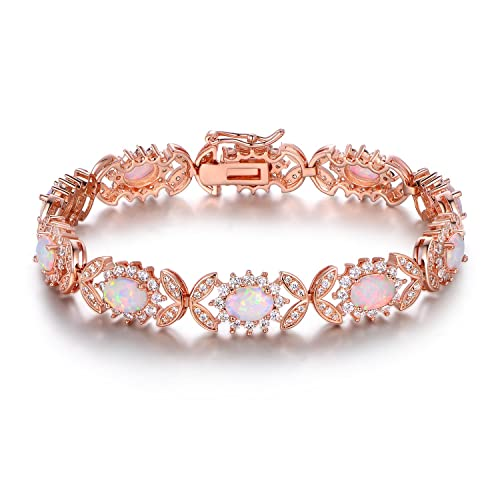 Barzel 18K White Gold or Rose Gold Plated Created Opal Tennis Bracelet