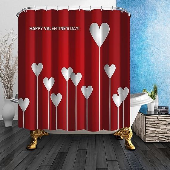 Nyngei - Cortina de ducha con diseño de corazón, para el día de San Valentín, durará para siempre, impresión creativa, resistente al moho, tejido de poliéster, juego de cortina de ducha con