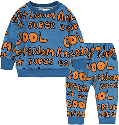 Autumn Toddler Girls Cartoon Printed Sweatshirt Tops Pants Tracksuit Loungewears