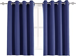 Aquazolax Grommet Blackout Curtain Panels Set Solid Thermal Insulated Blackout Curtains Drapes for Bedroom Windows, 2 Panels, 54 x 45 inch, Navy Blue