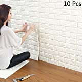 "3D White Brick Wallpaper, YTAT 3D Self Adhesive Wall Stickers, Brick Wall Stickers for Living Room Bedroom, 23.6""x23.6""(60x60cm)(10, white)"