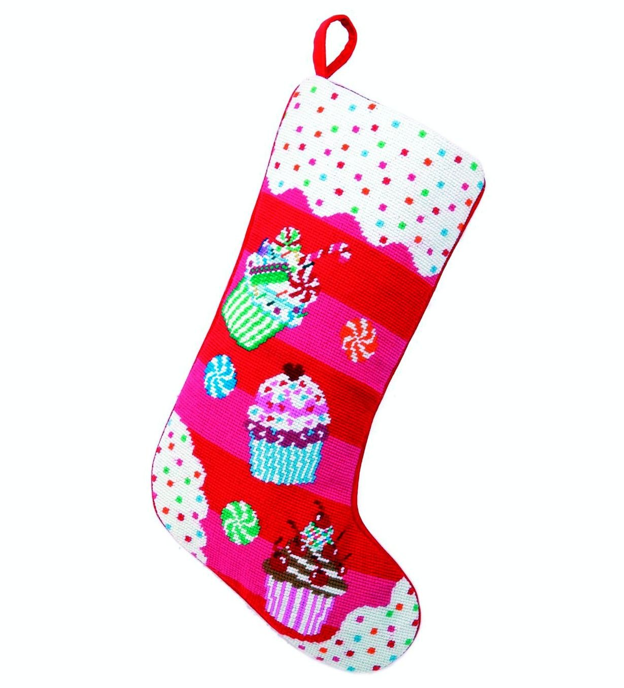 Glitterville 31GV39MC Cupcake Love Needlepoint Stocking, 11 x 18''